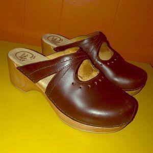 Dansko Brown Leather Clog Slides